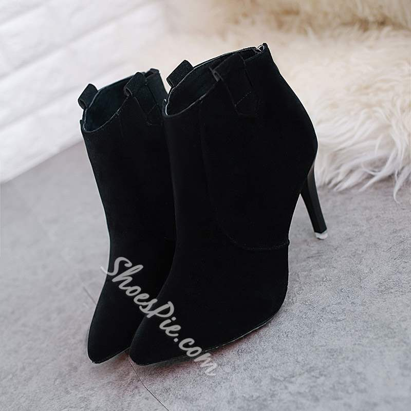Shoespie Pointed Toe Boots Back Zip Stiletto Heel