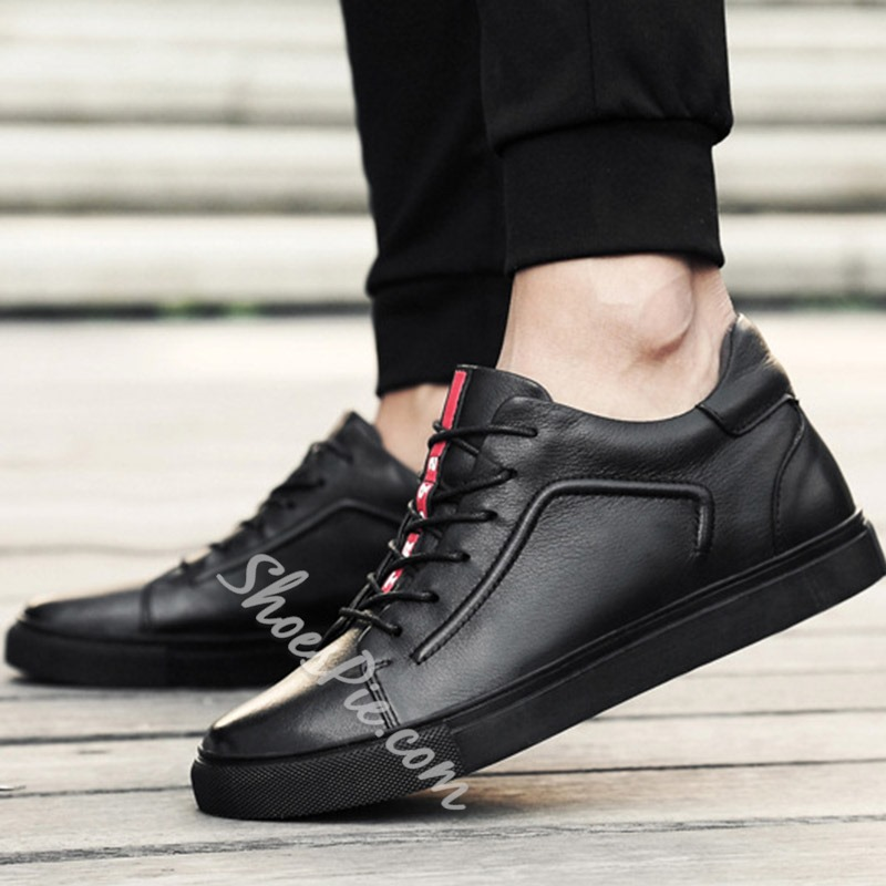 Shoespie Lace-Up Hidden Elevator Heel Color Block Sneaker