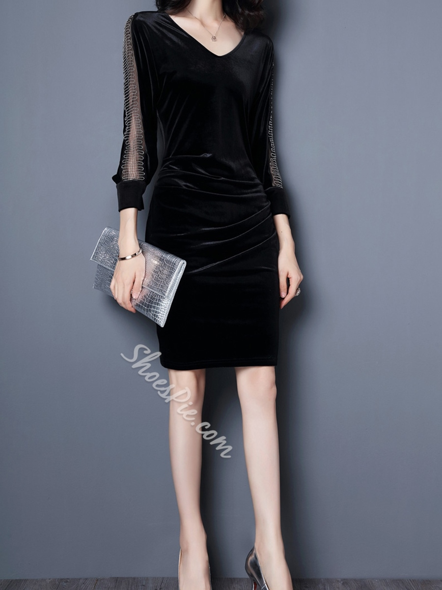 Shoespie Hollow See -Through Three-Quarter Sleeve Bodycon Dress