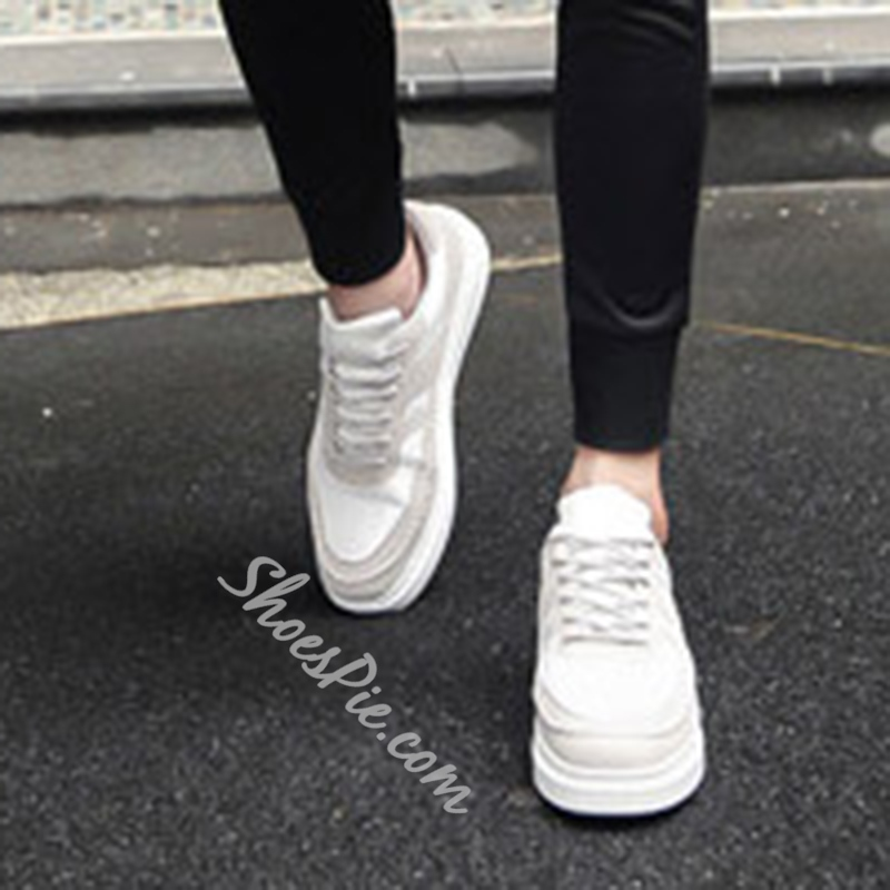 Shoespie Casual Lace-Up Mesh Color Block Sneaker
