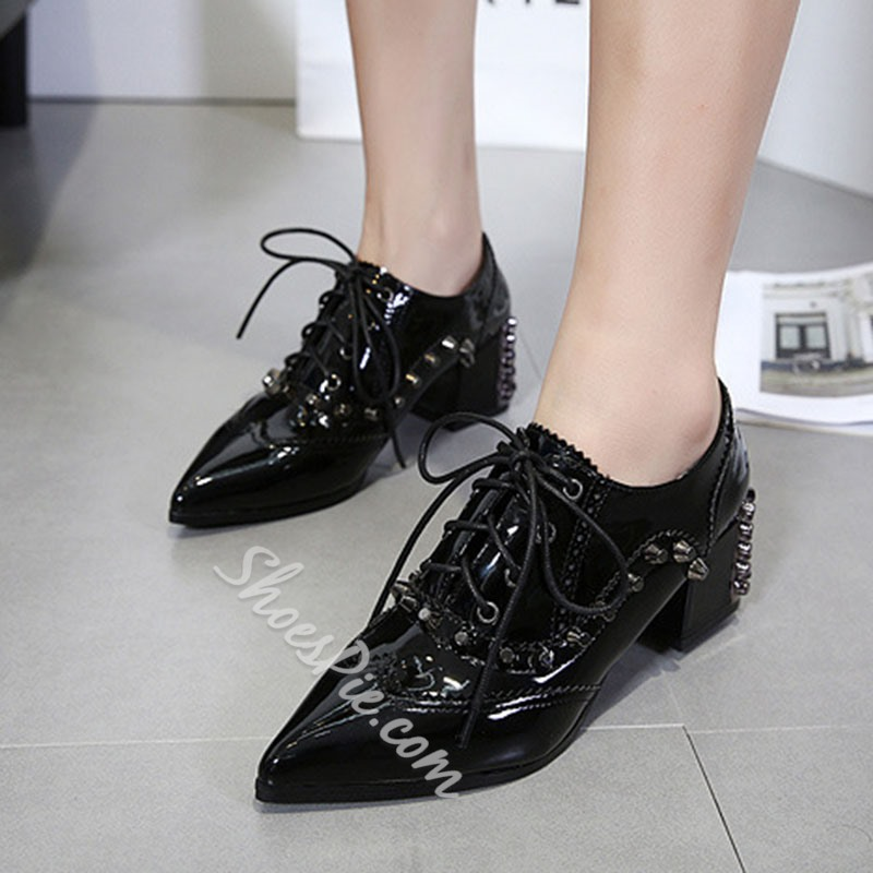 Shoespie Casual Rivet Lace-Up Pointed Toe Chunky Heel