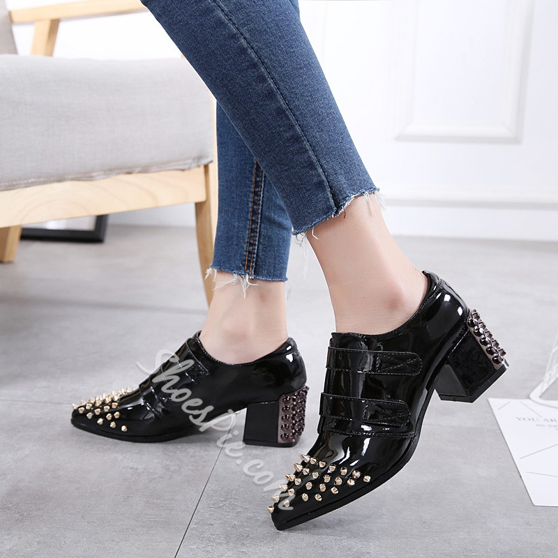 Shoespie Rivet Casual Pointed Toe Chunky Heel