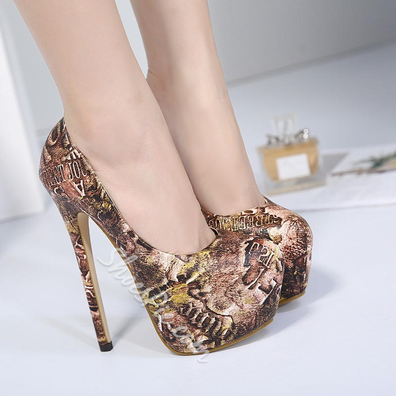Shoespie Stiletto Print Slip-On Banquet Platform Heel