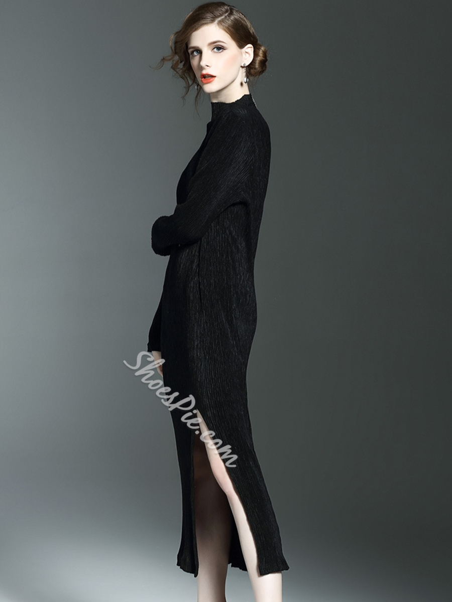 ShoespieTurtleneck Asymmetric Long Sleeve Bodycon Dress