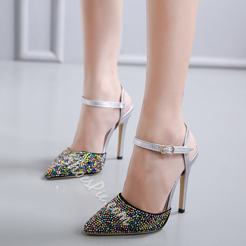 Shoespie Candy Color Ankle Strap Stiletto Heel