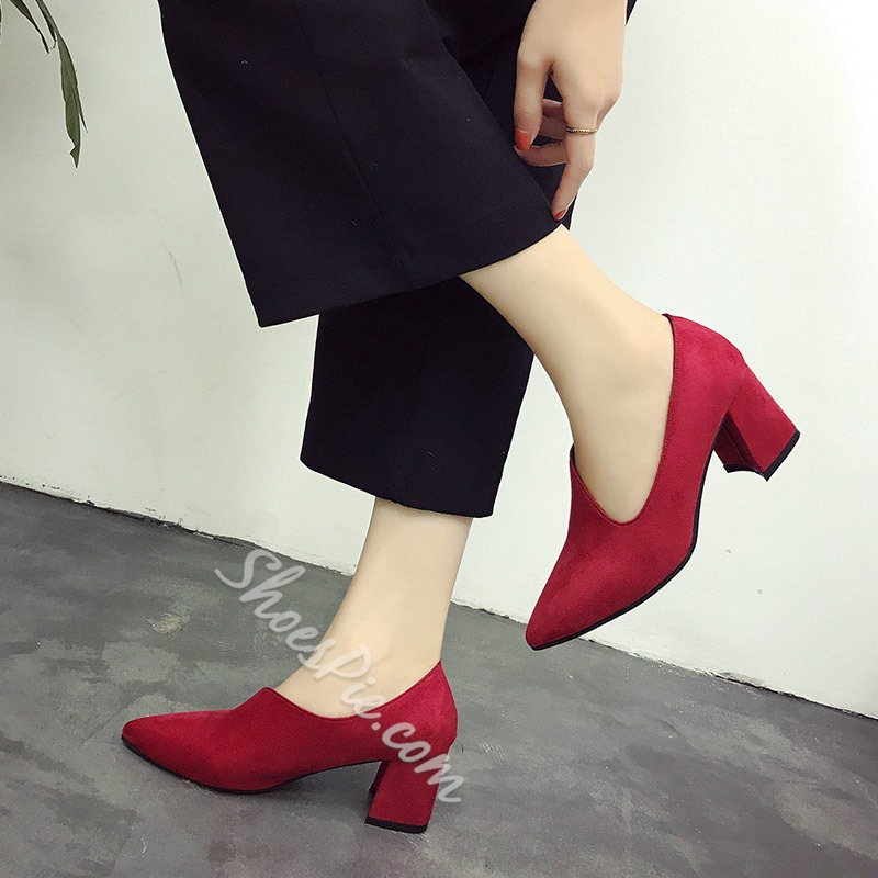 Shoespie Slip-On Low-Cut Upper Pointed Toe Chunky Heel
