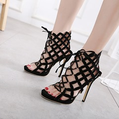 Shoespie High-Cut Upper Lace-Up Ankle Boots Hollow Stiletto Heel