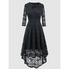 Hollow Lace V-Neck Asymmetrical Bodycon Dress