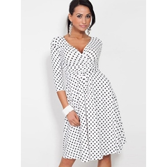 Trumpet V-Neck Polka Dots Bodycon Dress