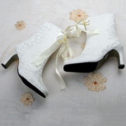 Shoespie Side Zipper Square Toe Chunky Heel Banquet Wedding Ankle Boot