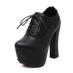 Shoespie Zipper Lace-Up Front Chunky Platform Heel Ankle Boot