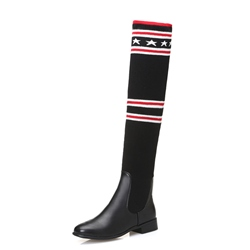 Shoespie Casual Block Heel Geometric Stripe Knee High Boot