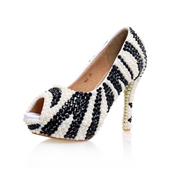 Shoespie Peep Toe Slip-On Beads Platform Stiletto Heel