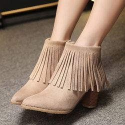Shoespie Pointed Toe Chunky Heel Side Zipper Ankle Boot