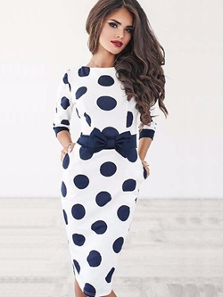 Shoespie Polka Dots Bow Women's Bodycon Dress