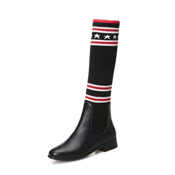 Shoespie Geometric Stripe Patchwork Block Heel Knee High Boot