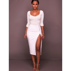 Shoespie Asymmetric White Bodycon Dresses