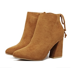 Shoespie Short Floss Chunky Heel Lace-Up Ankle Boot