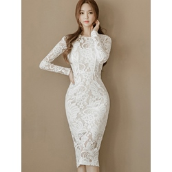 Round Neck Patchwork Long Sleeve Bodycon Women's Dress