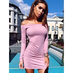 Long Sleeve Slash Neck Plain Suede Women's Bodycon Dress