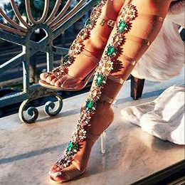 Rhinestone Stiletto Heel Strappy Buckle Jelly Sandals