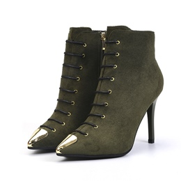 Shoespie Pointed Toe Stiletto Heel Cross Strap Short Floss Ankle Boot