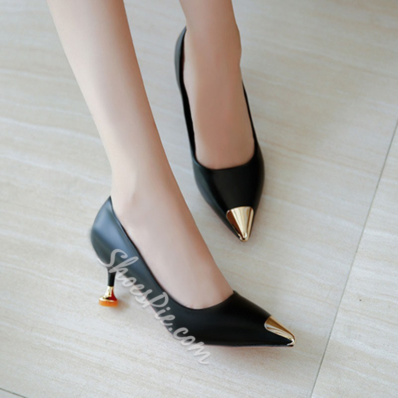 ShoespiePointed Toe Sequin Slip-On Low Heel