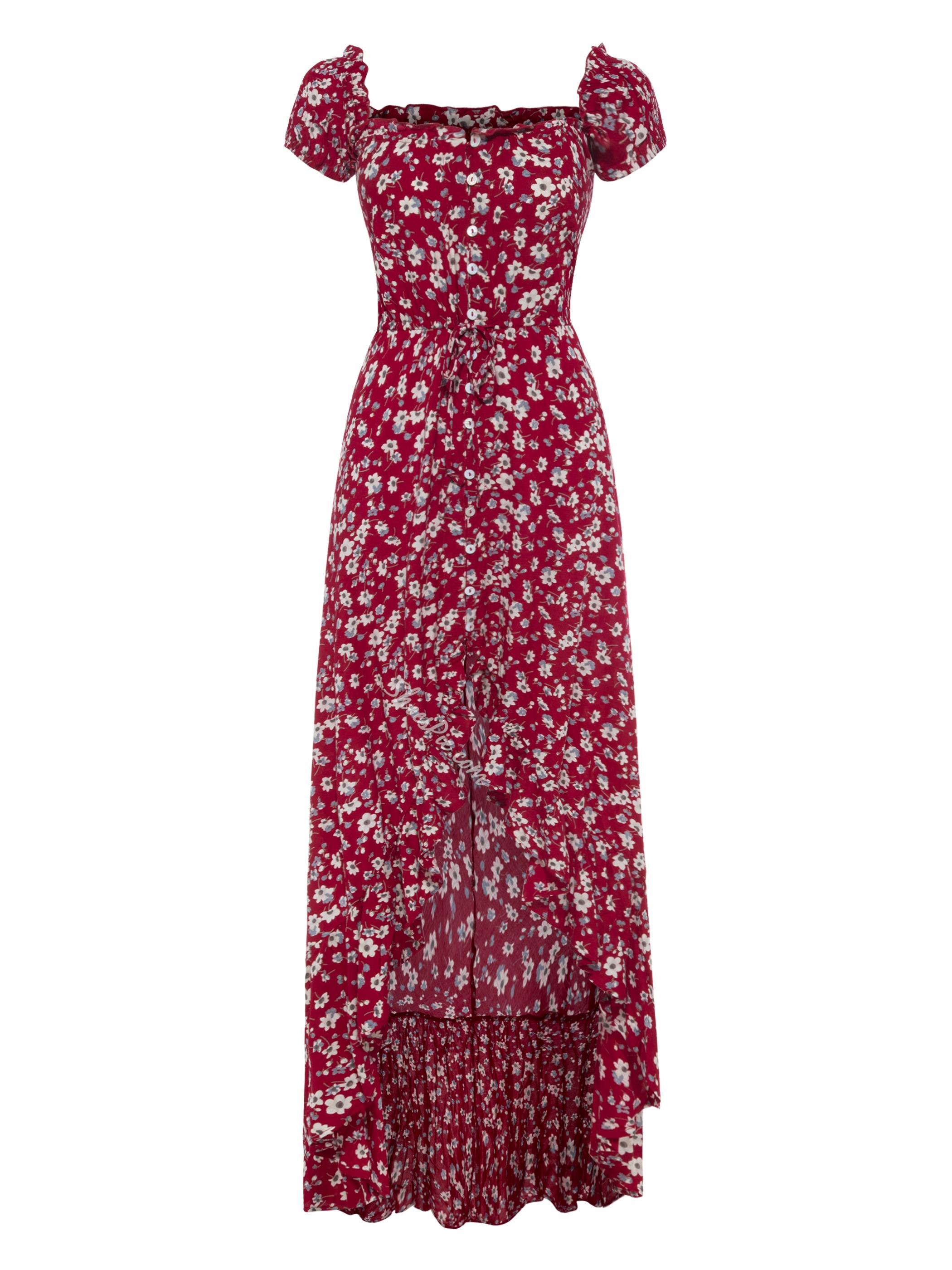 Slash Neck Puff Sleeve Flower Print Maxi Dress
