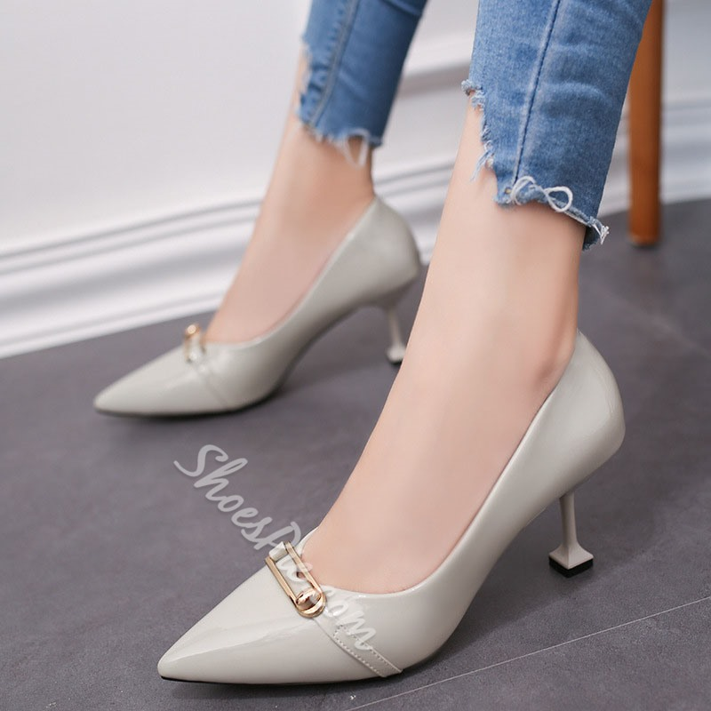 Shoespie Low-Cut Upper Pointed Toe Stiletto Low Heel