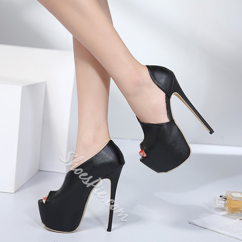 Shoespie Peep Toe Slip-On Platform Stiletto Heel