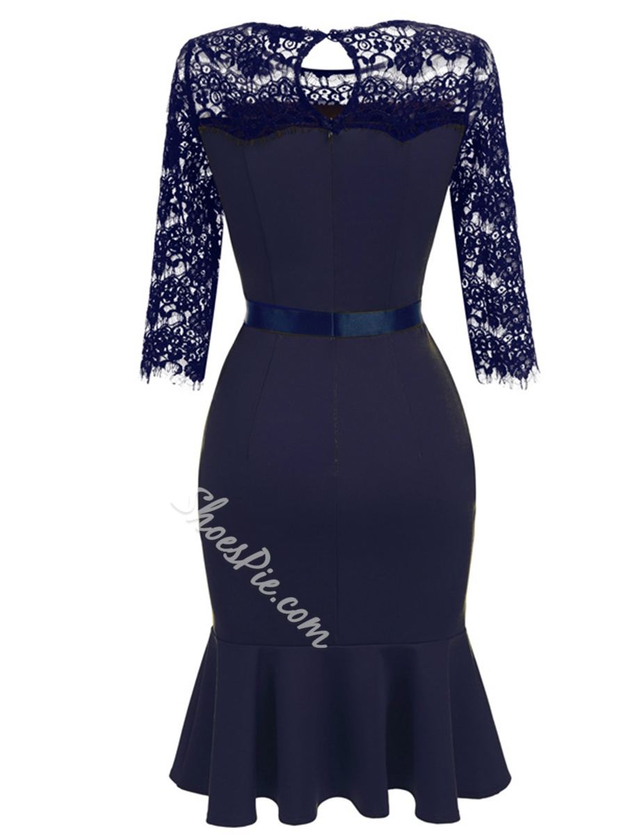Shoespie Hollow Patchwork Lace Three-Quarter Sleeve Bodycon Dress