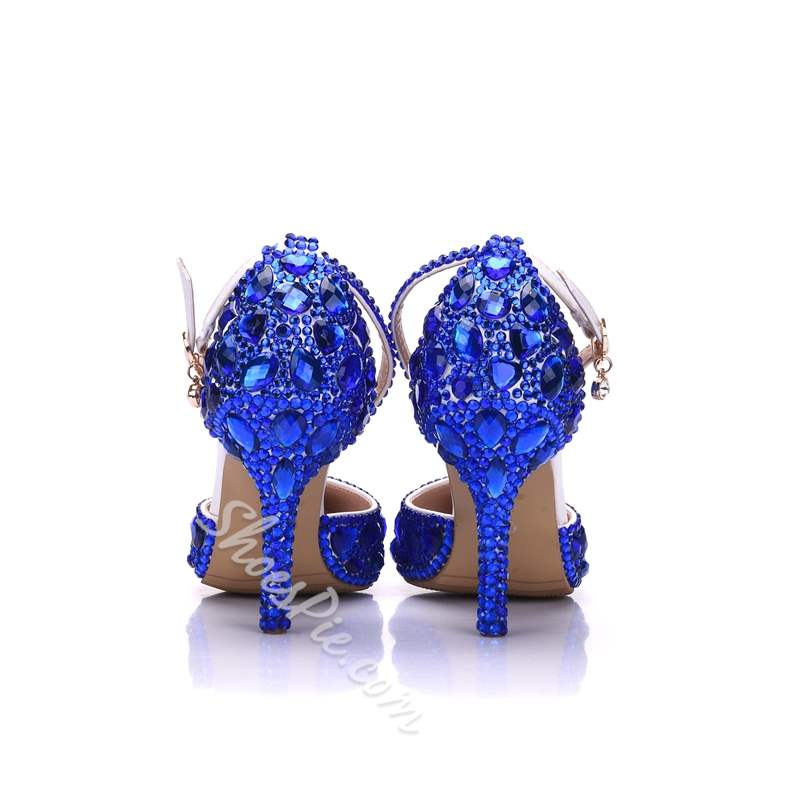 Shoespie Trendy Rhinestone Pointed Toe Line-Style Buckle Wedding Bridal Shoes