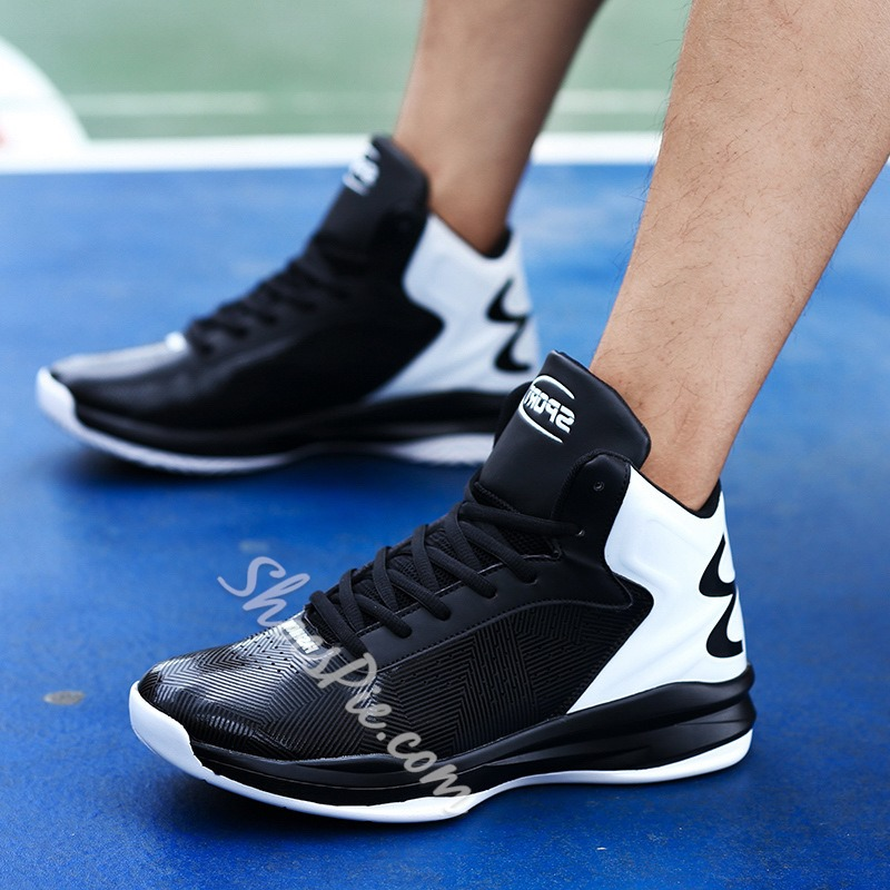 Casual Mesh Lace-Up Color Block Sneakers