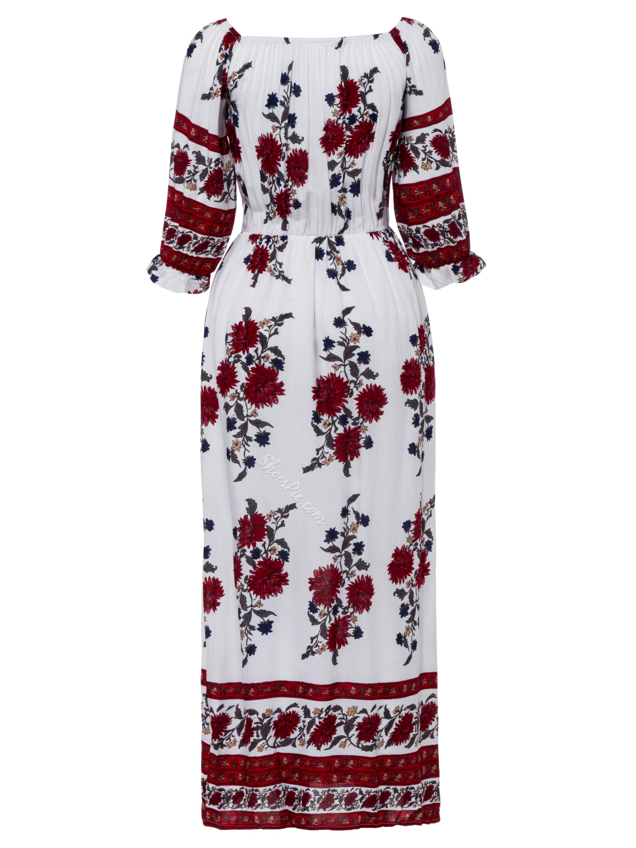 Slash Expansion Neck Flower Print Dress