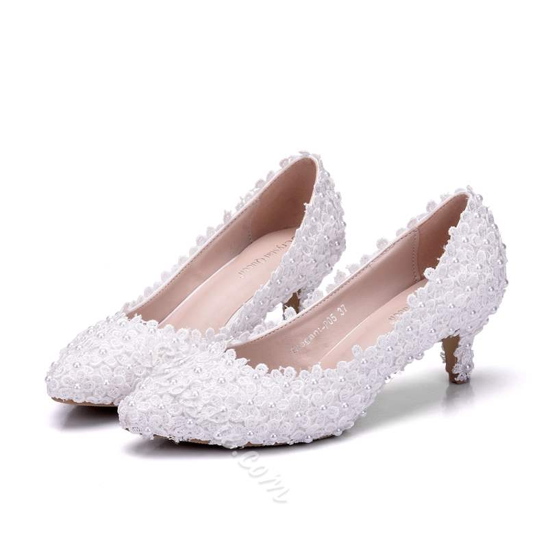 Shoespie White Stylish Stiletto Heel Slip-On Wedding Bridal Shoes