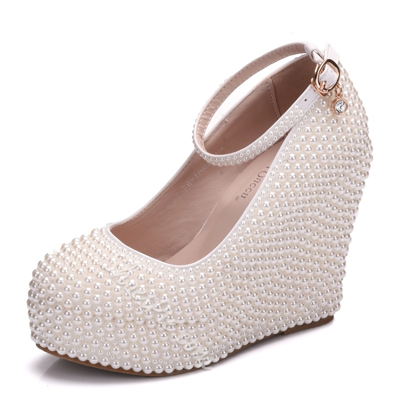 Shoespie Rhinestone Wedding Beads Platform Wedge Heel