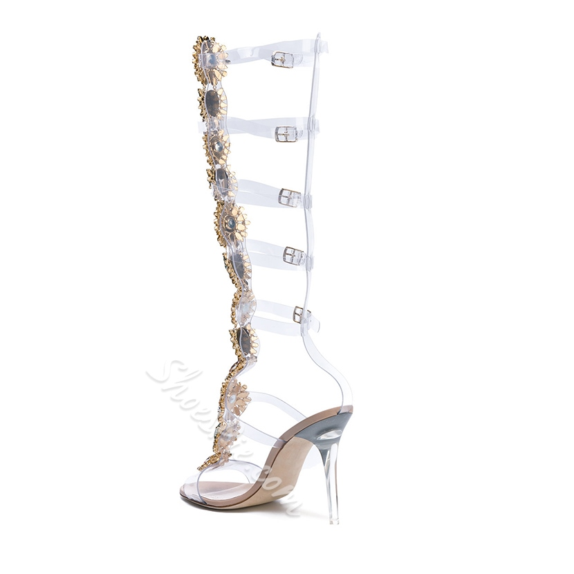 Shoespie Rhinestone Stiletto Heel Strappy Buckle Clear Sandals