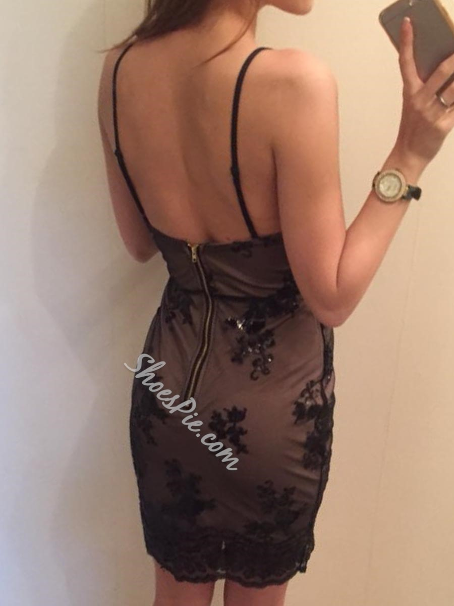 Shoespie Backless Sequins Sleeveless Bodycon Dress