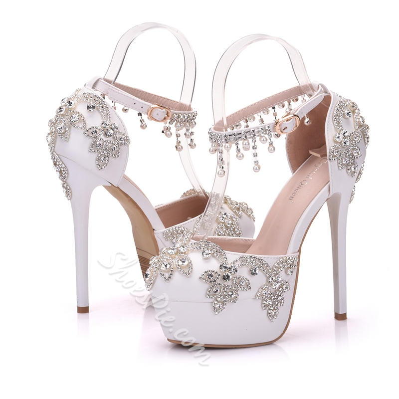 Shoespie Rhinestone Platform Wedding Stiletto Heel