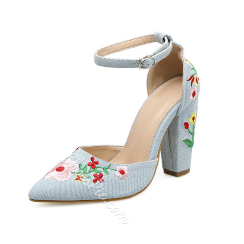 dc4e10a5c9f Shoespie Embroidery Chunky Heel Floral Wedge Heel- Shoespie.com