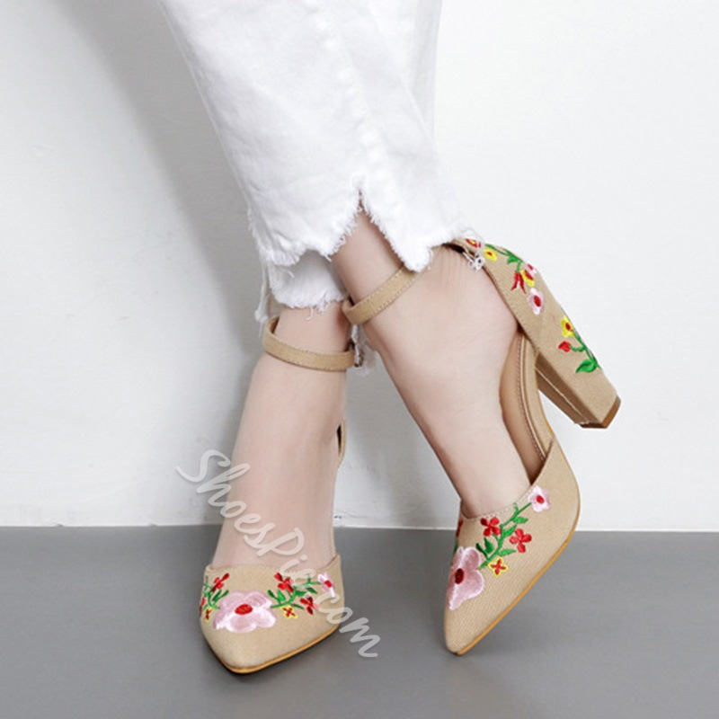 Shoespie Embroidery Chunky Heel Floral Wedge Heel