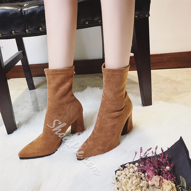 Shoespie Back Zip Chunky Heel Pointed Toe Ankle Boot