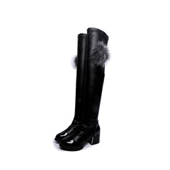 Shoespie Pompon Casual Block Heel Knee High Boot