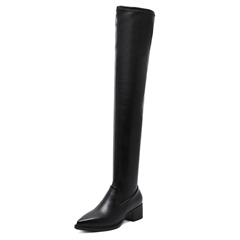 Shoespie Side Zipper Pointed Toe Knee High Boot