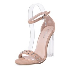 Shoespie Rhinestone Rivet Heel Covering Chunky Heel Dress Sandal