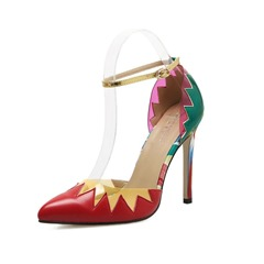 Shoespie Pointed Toe Line-Style Buckle Color Block Stiletto Heel