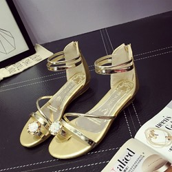 Shoespie Rhinestone Zipper Toe Ring Flat Heel Sandal