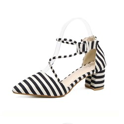 Shoespie Pointed Toe Stripe Low Chunky Heel