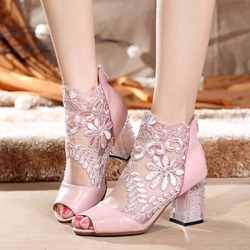 Shoespie Mesh Floral Peep Toe Chunky Heel Back Zip Ankle Boot