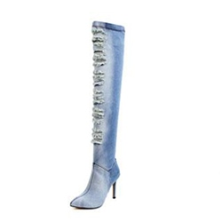 Shoespie Hollow Worn Stiletto Heel Pointed Toe Side Zipper Knee High Boot